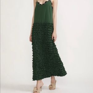 Ruffled green maxi dress